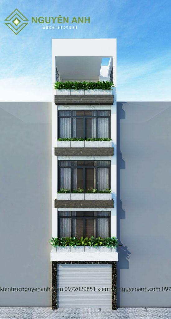 THIẾT KẾ NHÀ TẠI GIA LÂM 5 TẦNG. Phối cảnh thiết kế nhà tại gia lâm 5 tầng