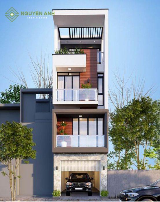 thiết kế nhà 4 tầng 2021, kiến trúc nguyên anh