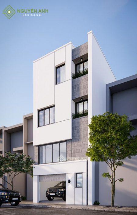 mẫu nhà phố gam trắng,thiết kế nhà phố gam trắng