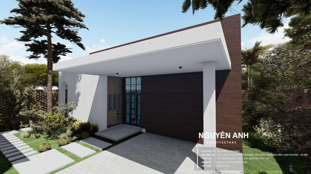 thiết kế nhà cấp 4. thiết kế nhà 1 tầng độc đáo. thiết kế nhà tại đan phượng. kiến trúc nguyên anh